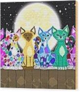 Full Moon Felines Wood Print