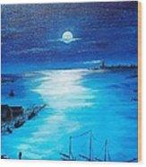 Full Moon Harbor Wood Print