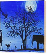 Full Moon In Africa Wood Print by Pilar  Martinez-Byrne
