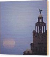 Full Moon In Liverpool Wood Print