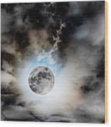 Full Moon  In Stormy Sky Wood Print
