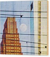 Full Moon In The City Wood Print