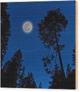Full Moon In Yosemite Wood Print