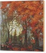 Full Moon On Halloween Lane Wood Print by Tom Shropshire
