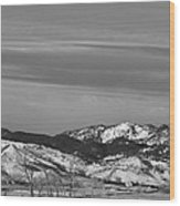 Full Moon On The Co Front Range Bw Wood Print