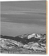 Full Moon On The Co Front Range Bw Wood Print