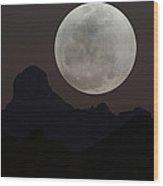 Full Moon Over Baboquivari Wood Print