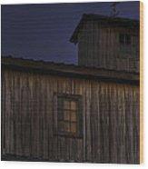 Full Moon Over Barn Wood Print