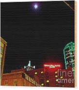 Full Moon Over Dallas Streets Wood Print
