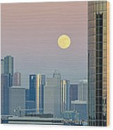 Full Moon Over Downtown Houston Skyline Wood Print