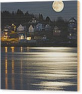 Full Moon Over Kennebec River Georgetown Island Maine Wood Print