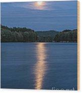 Full Moon Over Locke Lake Wood Print