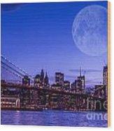 Full Moon Over Manhattan II Wood Print