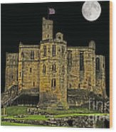 Full Moon Over Medieval Ruins Wood Print