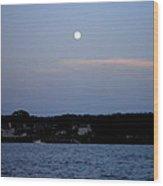 Full Moon Over Narragansett Bay Wood Print