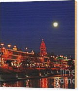 Full Moon Over Plaza Lights In Kansas City Wood Print