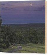 Full Moon Over The Ozarks Wood Print