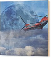Full Moon Rescue Wood Print by Betsy Knapp