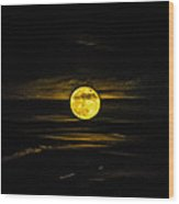 Full Moon Rising Wood Print