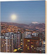 Full Moon Rising Over La Paz Wood Print