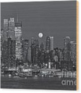 Full Moon Rising Over New York City IIi Wood Print