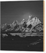 Full Moon Sets In The Teton Mountain Range Wood Print