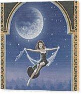Full Moon Swing Wood Print by Nickie Bradley