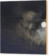 Full Moon With Clouds Night Usa Wood Print