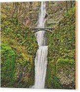 Full View Of Multnomah Falls In The Columbia River Gorge Of Oregon Wood Print