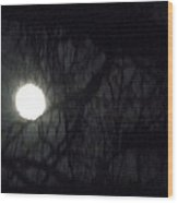 Fullmoon In Between The Trees  Wood Print