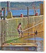 Fun At The Ferry Dock On Brier Island In Digby Neck-ns Wood Print