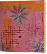 Fun Flowers In Pink And Orange 1 Wood Print