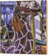 Fun Giraffe Carousel Ride Wood Print