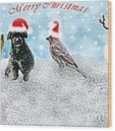 Fun Merry Christmas Card Wood Print