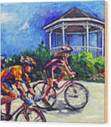 Fun Time In Bicycling Wood Print