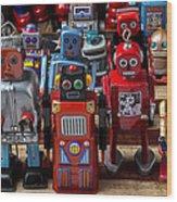 Fun Toy Robots Wood Print by Garry Gay