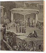 Funeral Ceremony In The Ruins Wood Print