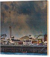 Funfair On The Pier Wood Print