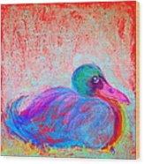 Funky Duck In Snowfall Wood Print