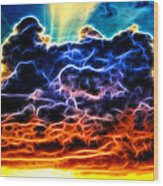 Funky Glowing Electrified Rainbow Clouds Abstract Wood Print