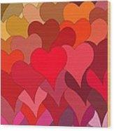 Funky Hearts Wood Print