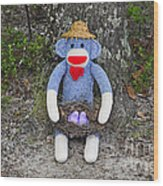 Funky Monkey - Purple Peeps Wood Print
