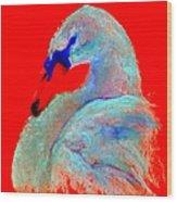 Funky Swan Blue On Red Wood Print