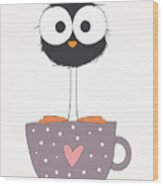 Funny Bird On A Cup Illustration Wood Print