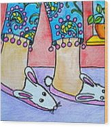 Funny Bunny Slippers Wood Print by Debi Starr