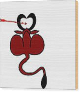 Funny Illustration Of Backside Of Bull With Heart Shaped Horns Wood Print