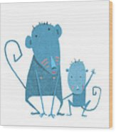 Funny Kids Monkey Characters Mother And Wood Print