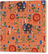 Funny Pattern With Animals Wood Print