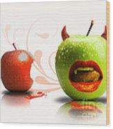 Funny Satirical Digital Image Of Red And Green Apples Strange Fruit Wood Print by Sassan Filsoof