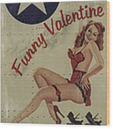 Funny Valentine Noseart Wood Print